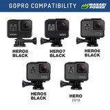 GoPro HERO8 Black, HERO7 Black, HERO6, HERO5, HERO 2018 Triple Battery Charger by Wasabi Power