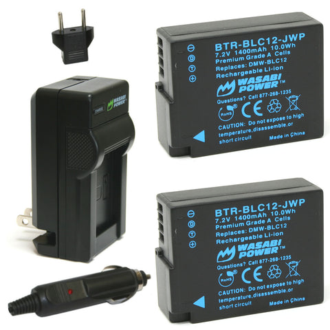 Leica BP-DC12 Battery (2-Pack) and Charger by Wasabi Power