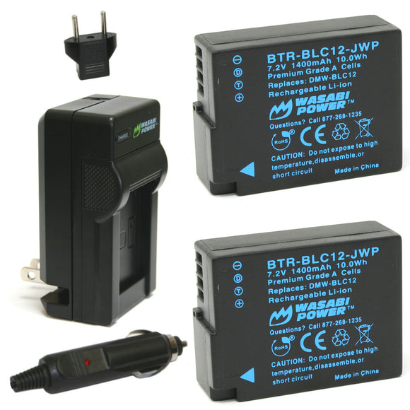 Panasonic DMW-BLC12 Battery (2-Pack) and Charger by Wasabi Power