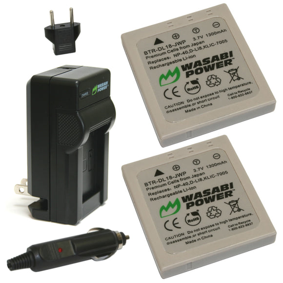 Fujifilm NP-40, NP-40N Battery (2-Pack) and Charger by Wasabi Power
