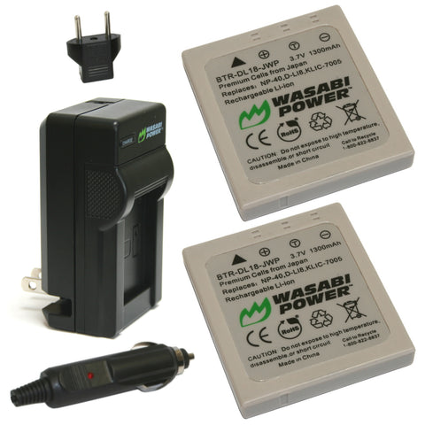 Samsung SLB-0737, SLB-0837 Battery (2-Pack) and Charger by Wasabi Power