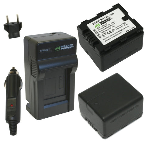 Panasonic VW-VBN130 Battery (2-Pack) and Charger by Wasabi Power