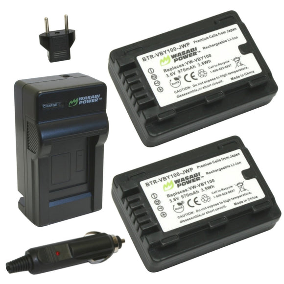 Panasonic VW-VBY100 Battery (2-Pack) and Charger by Wasabi Power