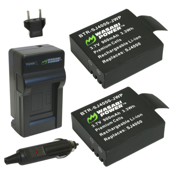 SJCAM SJ4000, SJ5000 and 1080P, 4K Action Cameras Battery (2-Pack) and Charger by Wasabi Power