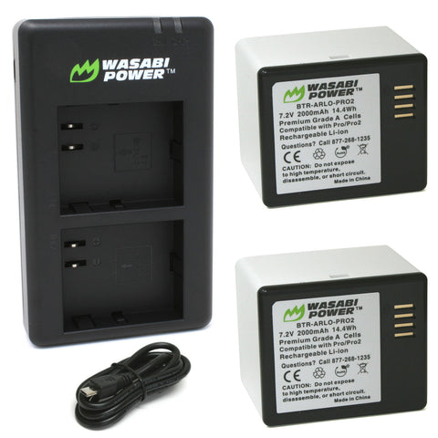 Wasabi Power Battery (2-Pack) and Dual Charger for Arlo Pro, Pro 2 (VMA4400 & VMA4400C)