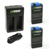 Wasabi Power GoPro MAX Battery (2-Pack) and USB Dual Charger for GoPro MAX, ACDBD-001, ACBAT-001