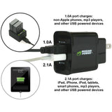 USB Wall Charger (US Plug, 2-Port, 3.1A) by Wasabi Power