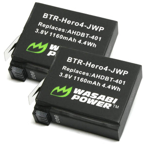 GoPro HERO4 and GoPro AHDBT-401 Battery (2-Pack) by Wasabi Power