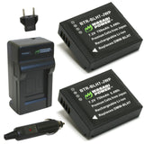Wasabi Power Battery (2-Pack) and Charger for Panasonic DMW-BLH7