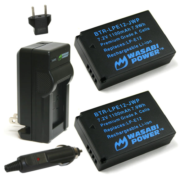 Canon LP-E12 Battery (2-Pack) and Charger by Wasabi Power