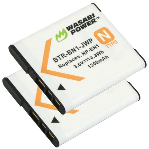 Sony NP-BN, NP-BN1 Battery (2-Pack) by Wasabi Power