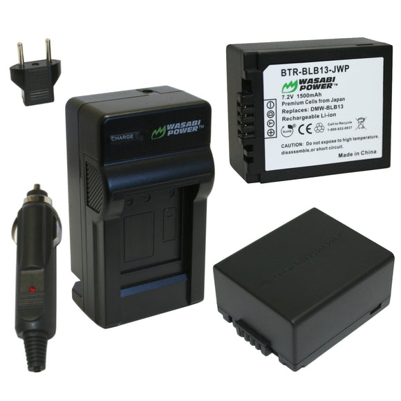 Panasonic DMW-BLB13 Battery (2-Pack) and Charger by Wasabi Power