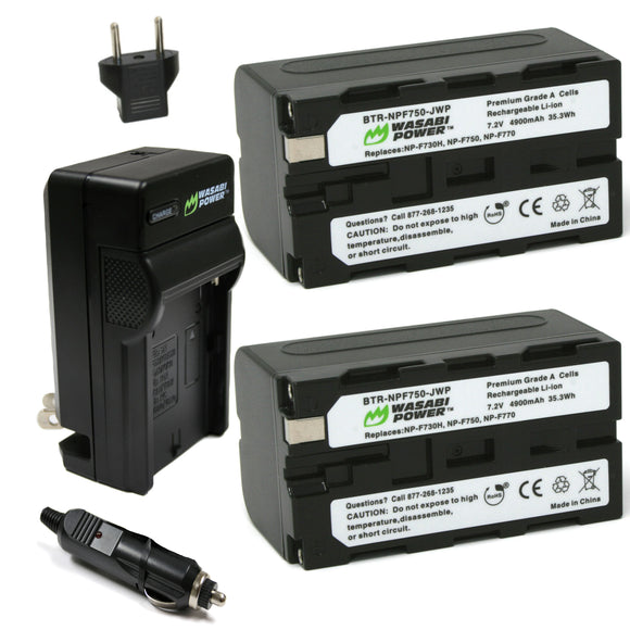 Sony NP-F730, NP-F750, NP-F760, NP-F770 (L Series) Battery (2-Pack) and Charger by Wasabi Power