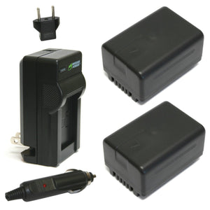Panasonic VW-VBT190 Battery (2-Pack) and Charger by Wasabi Power