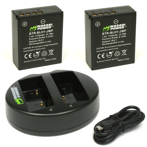 Olympus BLH-1 Battery (2-Pack) and Dual Charger by Wasabi Power