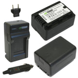 Wasabi Power Battery (2-Pack) and Charger for Panasonic VW-VBL090, VW-VBK180