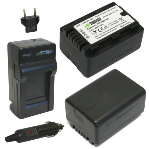 Panasonic VW-VBL090, VW-VBK180 Battery (2-Pack) and Charger by Wasabi Power