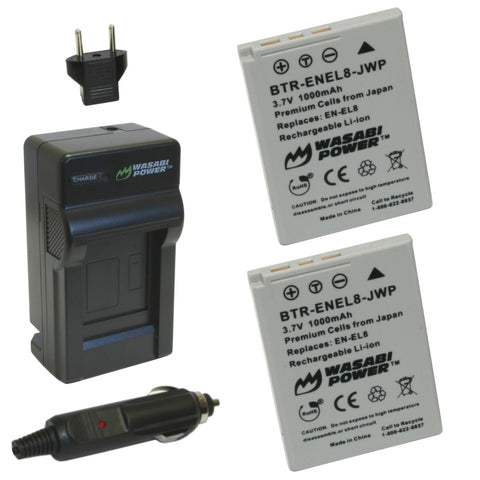 Nikon EN-EL8 Battery (2-Pack) and Charger by Wasabi Power