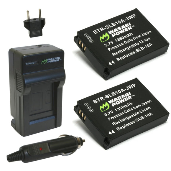 Samsung SLB-10A Battery (2-Pack) and Charger by Wasabi Power