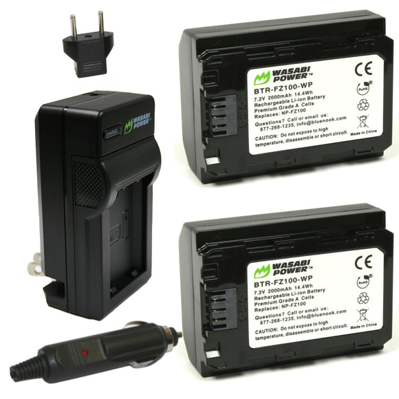 Sony NP-FZ100 Battery (2-Pack) and Charger by Wasabi Power