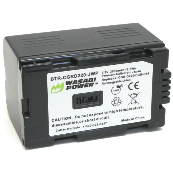 Panasonic CGR-D220 Battery by Wasabi Power