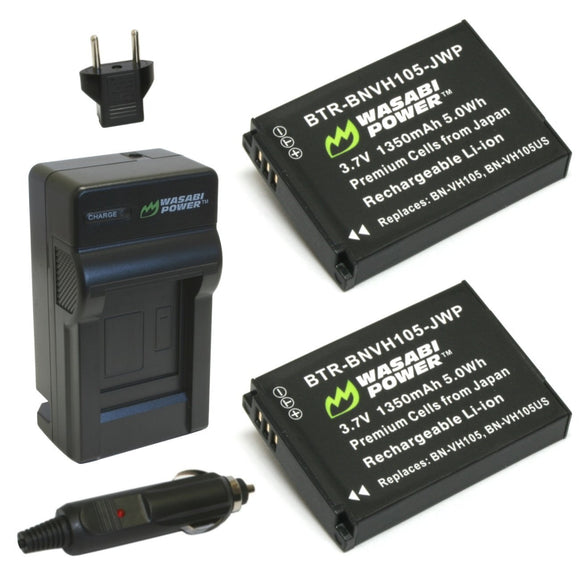 JVC BN-VH105 Battery (2-Pack) and Charger by Wasabi Power