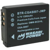 Panasonic CGA-S007, DMW-BCD10 Battery by Wasabi Power