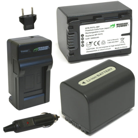 Sony NP-FH60, NP-FH70 Battery (2-Pack) and Charger by Wasabi Power