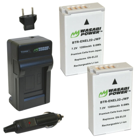 Wasabi Power Battery (2-Pack) and Charger for Nikon EN-EL22, MH-29