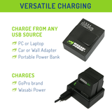 Wasabi Power Battery (2-Pack) and Dual Charger for GoPro HERO3, HERO3+