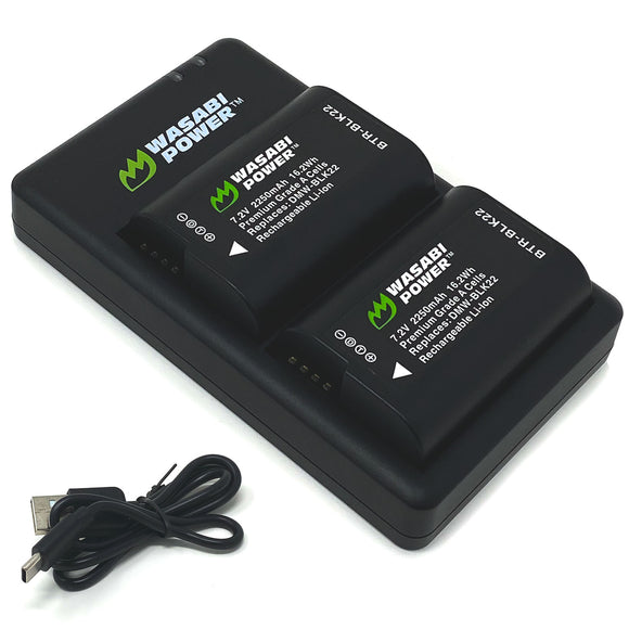 Panasonic DMW-BLK22 Battery (2-Pack) and Dual Charger by Wasabi Power