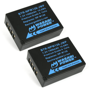 Fujifilm NP-W126, NP-W126S Battery (2-Pack) by Wasabi Power