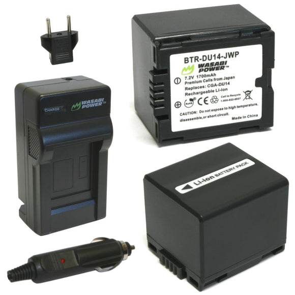 Panasonic CGA-DU12, CGA-DU14, VW-VBD120, VW-VBD140 Battery (2-Pack) and Charger by Wasabi Power