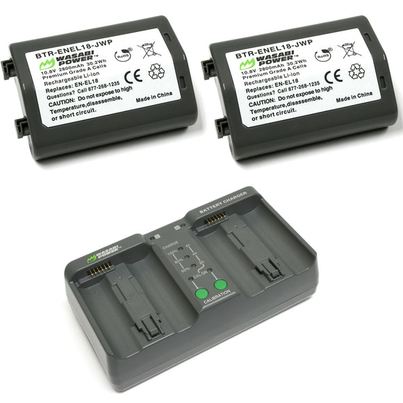 Nikon EN-EL18 Battery (2-Pack) and Dual Charger by Wasabi Power