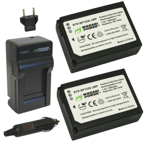 Samsung BP1030, BP1130, ED-BP1030 Battery (2-Pack) and Charger by Wasabi Power