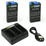Wasabi Power GoPro MAX Battery (2-Pack) and USB Triple Charger for GoPro MAX, ACDBD-001, ACBAT-001