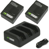 GoPro HERO3, HERO3+ Battery (2-Pack, 1280mAh) and Triple Charger by Wasabi Power