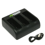 Wasabi Power GoPro MAX Battery Charger (Triple USB) for GoPro ACDBD-001, ACBAT-001