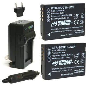 Panasonic DMW-BCG10 Battery (2-Pack) and Charger by Wasabi Power