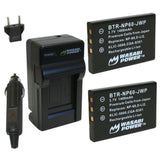 Ricoh DB-40 Battery (2-Pack) and Charger by Wasabi Power