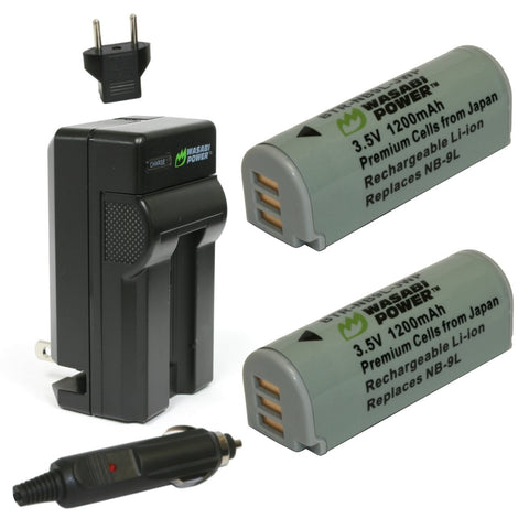 Canon NB-9L Battery (2-Pack) and Charger by Wasabi Power