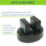 Wasabi Power Battery (2-Pack) and Dual Charger for Panasonic DMW-BLE9, DMW-BLG10