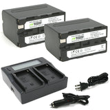 Sony NP-F950, NP-F960, NP-F970, NP-F975 (L Series) Battery (2-Pack) and Dual Charger by Wasabi Power