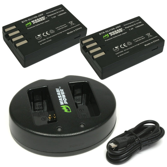 Pentax D-LI109 Battery (2-Pack) and Dual Charger by Wasabi Power
