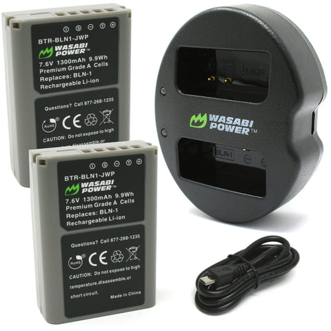 Olympus BLN-1, BCN-1 Battery (2-Pack) and Dual Charger by Wasabi Power