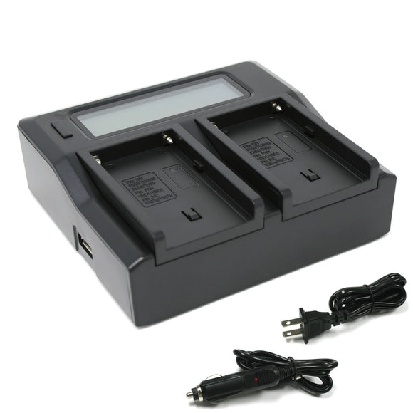 Sony NP-F550, NP-F750, NP-F960, NP-FM50, NP-QM91D (L Series, M Series) Dual LCD Charger by Wasabi Power