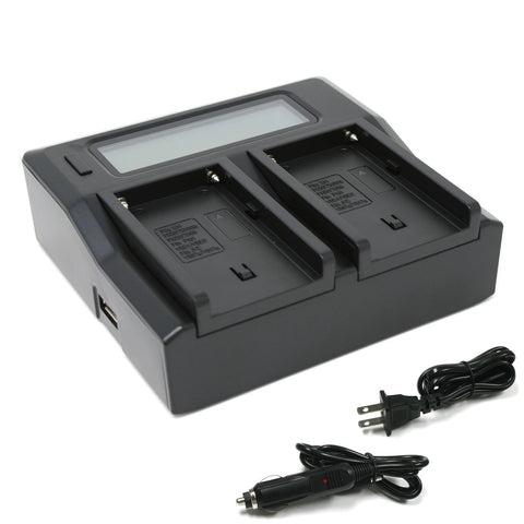 Sony NP-F550, NP-F750, NP-F960, NP-FM50, NP-QM91D (L Series, M Series) Dual Charger by Wasabi Power