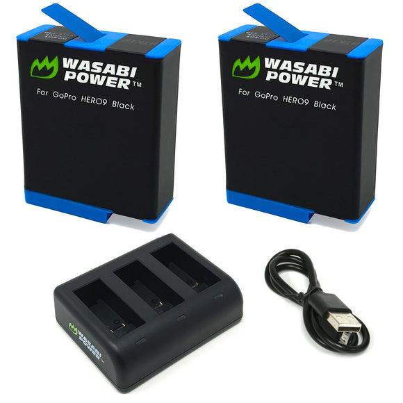 GoPro HERO9 Black Battery (2-Pack) and Triple Charger by Wasabi Power