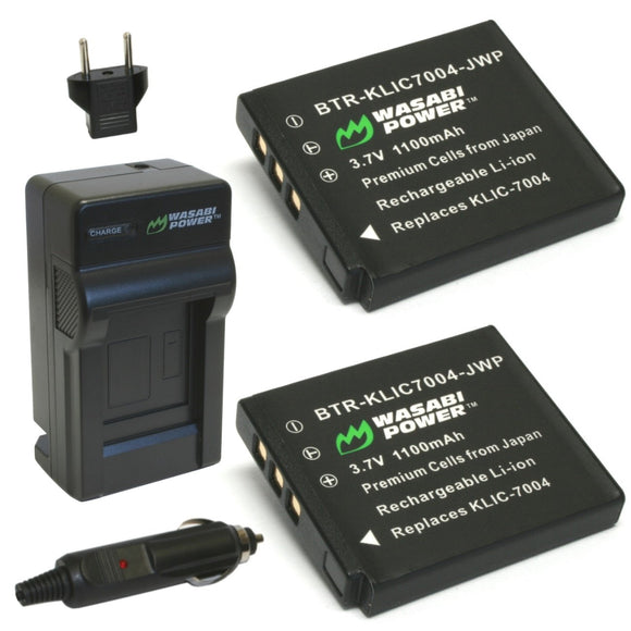 Kodak KLIC-7004 Battery (2-Pack) and Charger by Wasabi Power