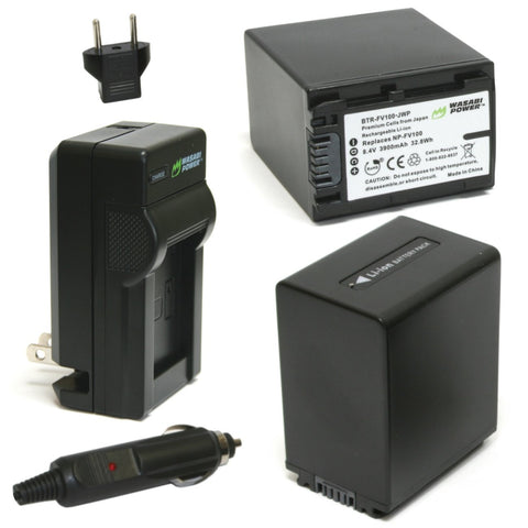 Sony NP-FV100 Battery (2-Pack) and Charger by Wasabi Power